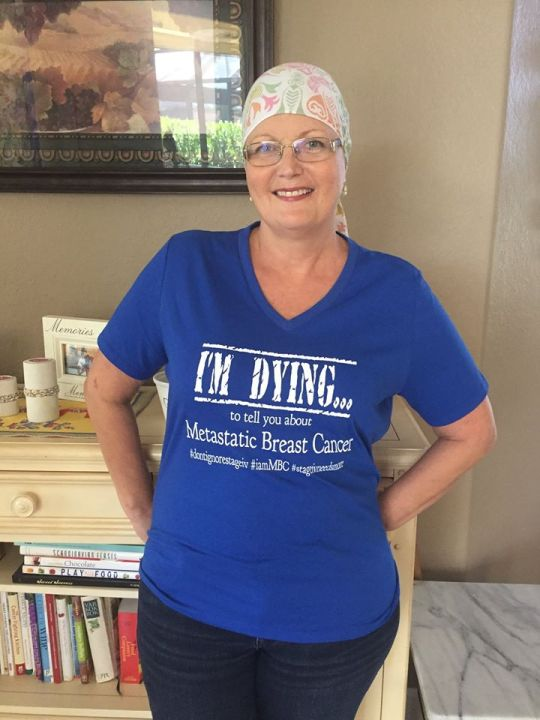 762e3097db339 My mom was diagnosed with Metastatic Breast Cancer in 2012. Pink t-shirts  and 5ks aren t keeping her alive. Research is.